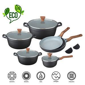 Induktion-Kochtopfset-Set-10-tlg-Kochtoepfe-Bratpfannen-Marmor-Handschuhe