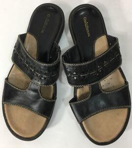 a32bef2a0632 Croft   Barrow Womens Sz 7.5 M Black Leather Open Toe Slip On ...