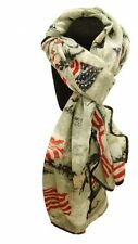 GRAY Voile Scarf w/ American Flag Running Horse Design!! BRAND NEW WESTERN WEAR!