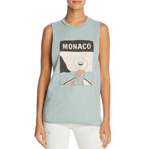 Michelle by Comune Womens Monaco Blue Graphic Casual Muscle Tank Top S BHFO 6828