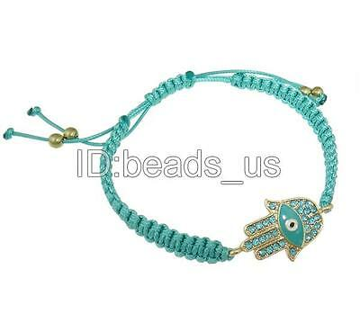 Vintage Jewelry Sky Blue Enamel  Rhinestone Hamsa Handmade Bracelets 7.5 Inch