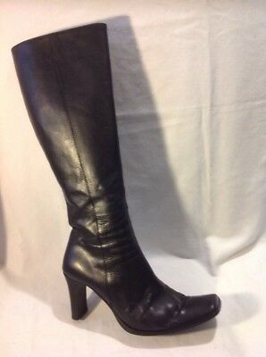 Jane Shilton Negro Knee High Cuero Botas Talla 38.5