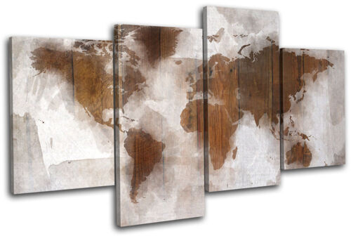 Abstract World Map Wood Maps Flags MULTI CANVAS WALL ART Picture Print VA