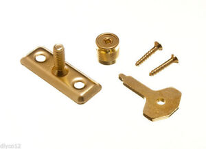 8-Of-Window-Casement-Stay-Lock-Pin-And-Key-Eb-Brass-Plated-Screws