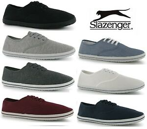 Mens-Slazenger-Lace-up-Canvas-Pumps-Plimsolls-Shoes-Trainers-7-Colours-Size-6-15