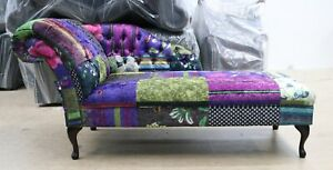CHESTERFIELD-PATCHWORK-VELVET-CHAISE-LOUNGE-LOUNGUE-DAY-BED-MULTI-COLOUR