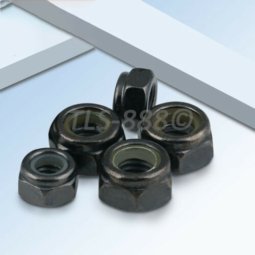 M2 M2.5 M3 M4 M5 M6 Hex Nyloc Nylon Insert Locking Nuts Black Ni-Plated DIN985