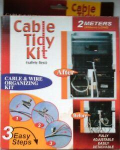 2 M Cable Tidy Kit Avec Ressort Facile Clip Pour Pc, Tv, Home & Office.-afficher Le Titre D'origine