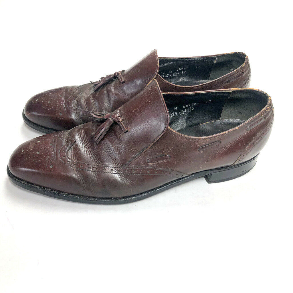FREEMAN 12 M Burgundy Brown Leather Vintage Distressed Oxfords shoes Tassels e3