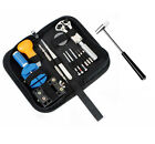 15pcs Watch Repair Tool Kit Case Opener Link Spring Bar Band Pin Remover Hammer