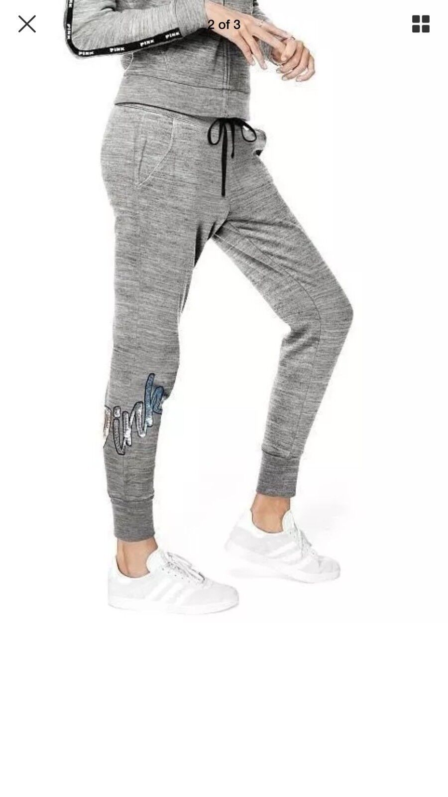 Victoria Secret PINK Marl Grey Ombre Rainbow pink gold Dog Bling Skinny Jogger S
