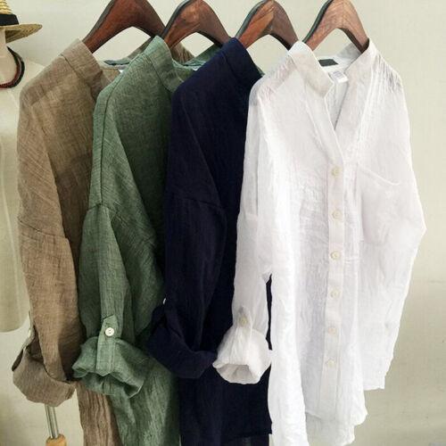 Leinen T-Shirts Bluse Stehkragen Sommer Damen Freizeit Langärmlig Dünn Nett
