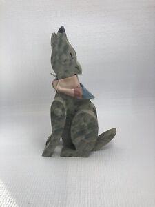 Wolf Dog Howling Sitting Hand Crafted Folk Art Wood Statue w/Bandana, 10'