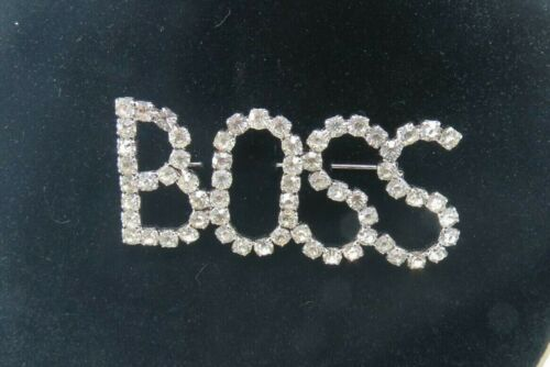 Vintage rhinestone boss brooch silver boss boss pin Vintage boss pin supervisor pin gifts for Boss/' day manager pin Boss/' Day gifts