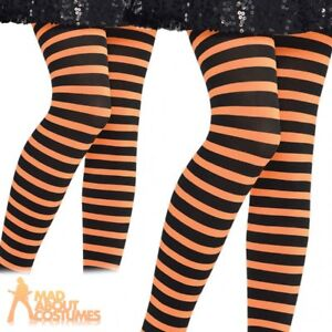 94441445ecb90 Child Orange And Black Striped Tights Pumpkin Halloween Kids Girls ...