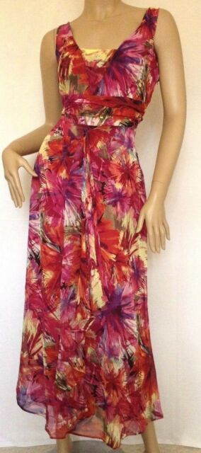 Kaleidoscope~ Multi Print Chiffon Maxi Dress ~ Size 10 ~ rrp £55 ~ (R7)