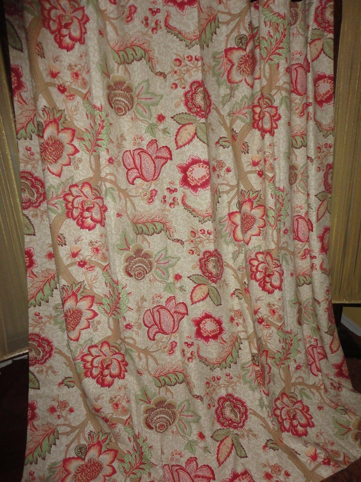DENTON Rosa TREE ARDEN JACOBEAN FLORAL Grun Rot SHOWER CURTAIN 72 X 74 3415d1