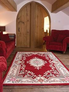 Aubusson Lotus Premium Wool Rugs Red Traditional Hand Carved Chinese