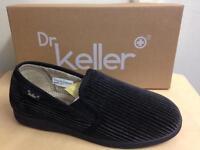 New Mens Dr Keller Dr Cord Brown Self Stripe Comfort Slippers Size 6 7 8 9 10 11