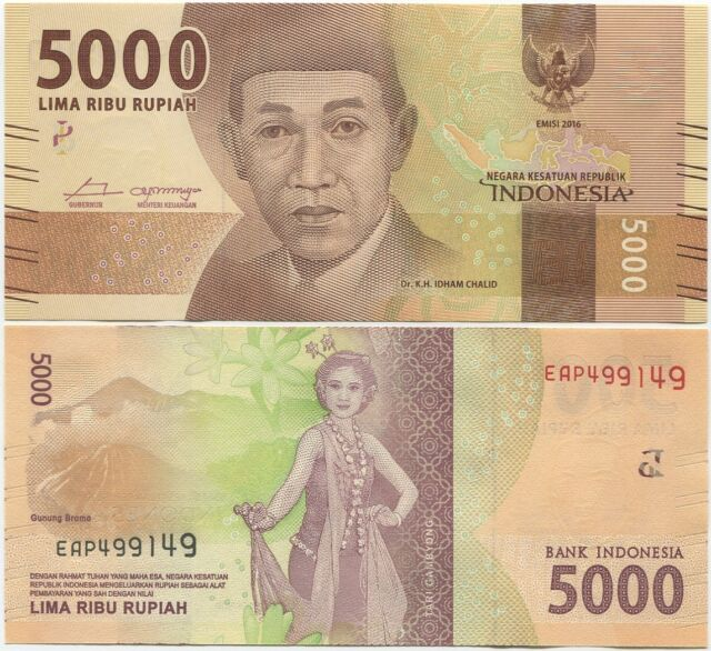 Indonesia 5000 Rupiah 2016 Unc P New Design