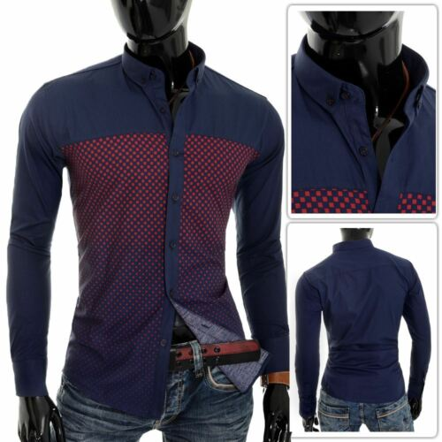 Mens Casual Button Down Shirt Red Check Cotton Slim Fit Long Sleeve Dark Blue