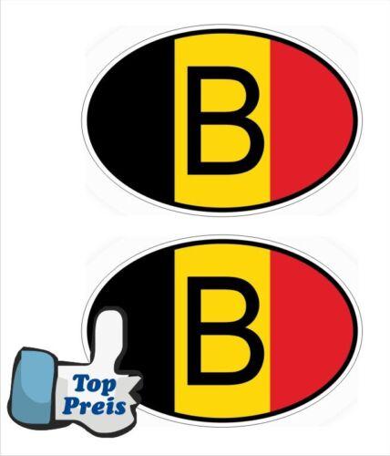 2 x Auto Pkw Kfz Aufkleber Sticker B Belgien Belgium Flaage Länderkennzeichen