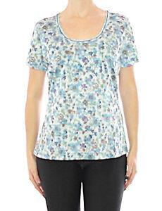 femmes-TESINI-LINEA-CHEMISE-Fleurs-Paillettes-tunique-t-shirt-blouse-haut-085374