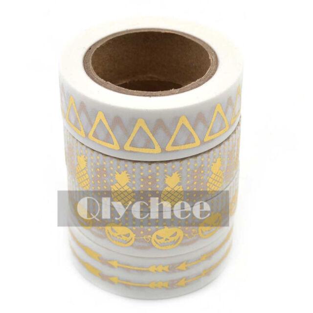Metallic Gold Washi Tape Scrapbooking Craft DIY paper Sticky Adhesive Sticker