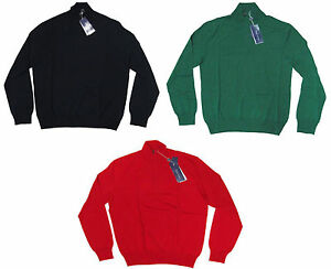 $795 Ralph Lauren Purple Label Herren Italien Wollstrick Mockneck Half Zip Pullover