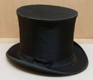 Ancien-chapeau-haut-de-forme-Claque-Bosseler-Jne-Bar-le-duc-mode-1900-Noir