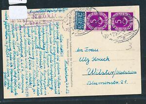 """29060) Bahnpost Ovalstempel Kiel-flensburg Train 1226 """"a"""" Kte + Landpost 1953-afficher Le Titre D'origine"""