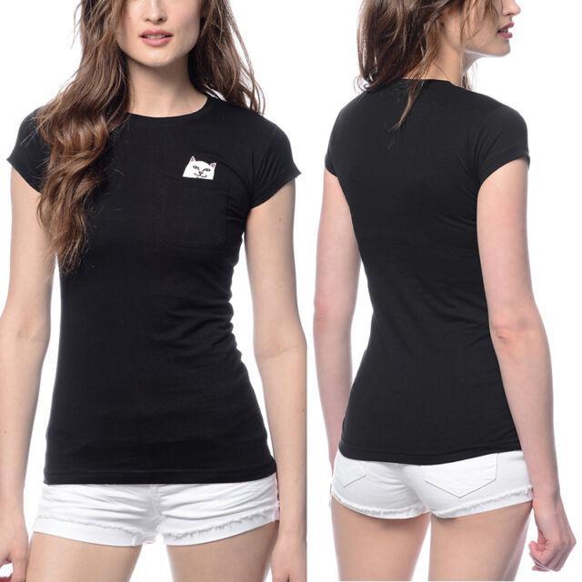 Fashion Pocket Cartoon Cat Women Summer Short Sleeve Casual T-shirt Blouse Top