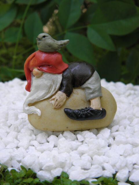 Miniature Dollhouse FAIRY GARDEN ~ Gnome on Stone with Bird  ~ NEW