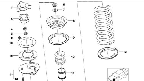 BMW E36//E46//M3 Stainless Steel Front//Rear Suspension Top Mount Nuts Hardware Kit