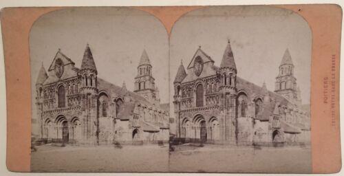 Poitiers Kirche Notre-Dame das Riesen- Frankreich Foto Stereo Vintage Albumin