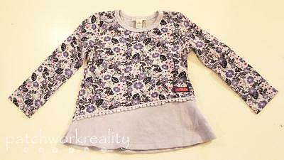 NAARTJIE Long SLeeve Pieced Thermal Knit FLoral Tunic Top Shirt Cloud Blue 3
