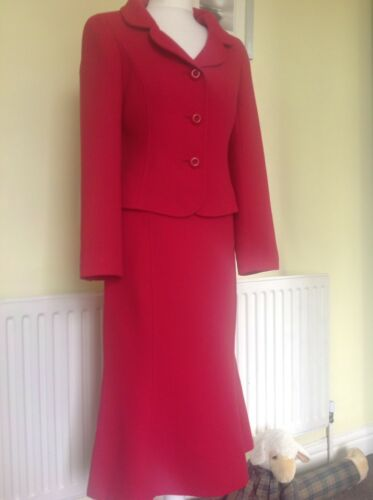 Hobbs RoseRaspberry Pink Dress Suit Uk 10 Virgin Wool