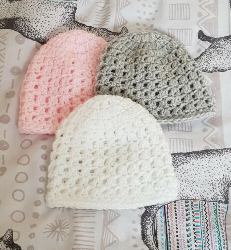 Pack of 3 crochet  baby Hats  premature to fit a 3-5.5 lb
