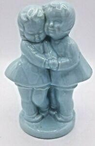 Vintage Shawnee Pottery Blue Boy and Girl Planter Flower Pot Vase Figurines