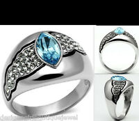 Deco Aquamarine Crystal Ring Stainless Steel Silver Size 5-10