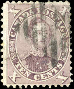 1859-Used-Canada-10c-F-Scott-17-HRH-Prince-Albert-First-Cents-Issue-Stamp