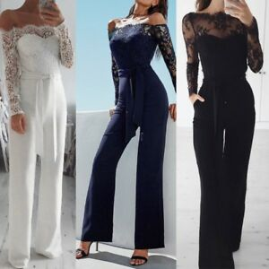 Elegant Sexy Off Shoulder Lace Rompers Jumpsuit Long Trousers