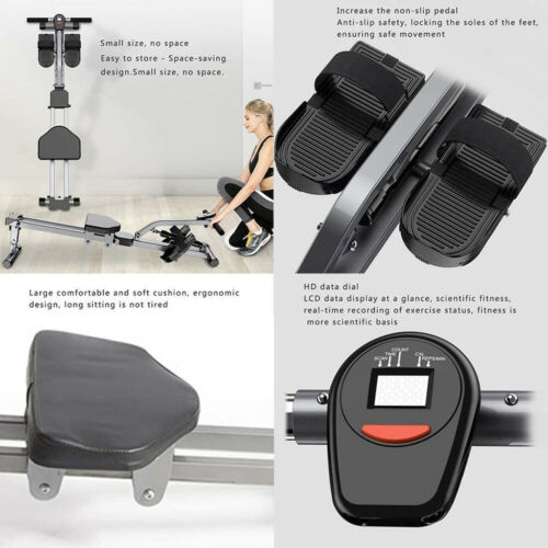 Rowing Machine Hydraulic Rower Stamina Exercise 12 Resistance Levels Adjustable