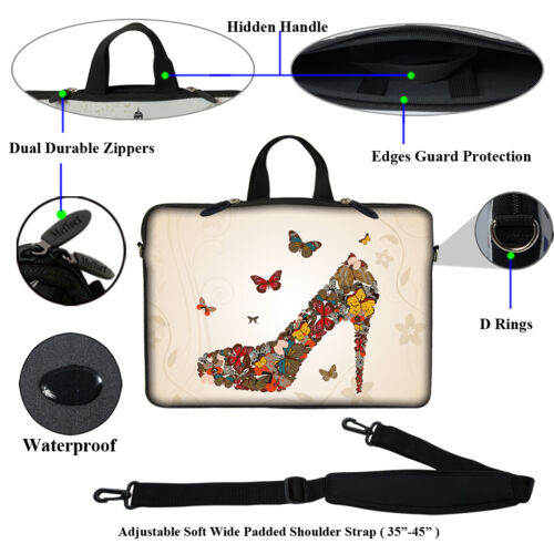 "15.6/"" Laptop Computer Sleeve Case Bag w Hidden Handle /& Shoulder Strap 3011"