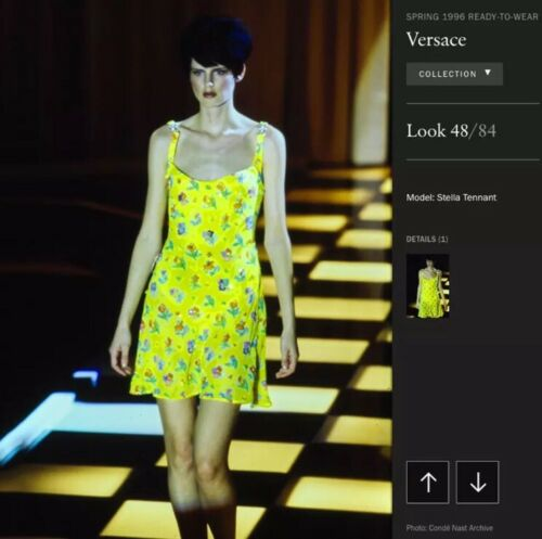 Gianni Versace Runway S/S 1996 Nwt Floral Yellow Sheath Dress Sz It 40 Us 4 by Versace