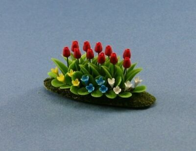 1//12 Beautiful Dollhouse Miniature Filled Garden Bed with Red Tulips #WCFL56