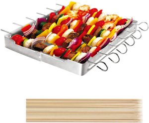 "6pcs 13/"" L S Unicook Heavy Duty Stainless Steel Barbecue Skewer Shish Kabob Set"