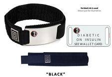 DIABETIC ON INSULIN Sport Medical Alert ID Bracelet with raised emblem.