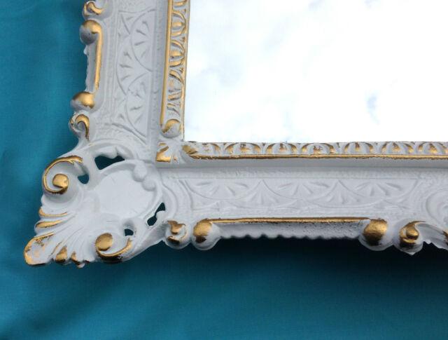 Wandspiegel Barock Shabby Chic,Badezimmerspiegel Weiß-Gold Jugendstil 57x47-3049