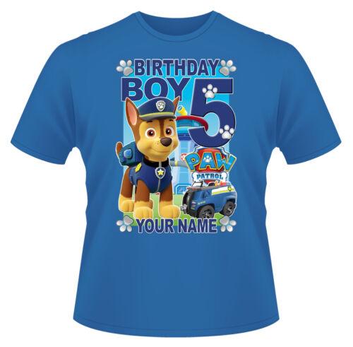 Paw Patrol Birthday Boy Chase Personalised Boys Girls T-Shirt Age 5 Gift//Present